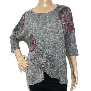 Desigual Gray Wearable Art Marled Gray Shirt Med